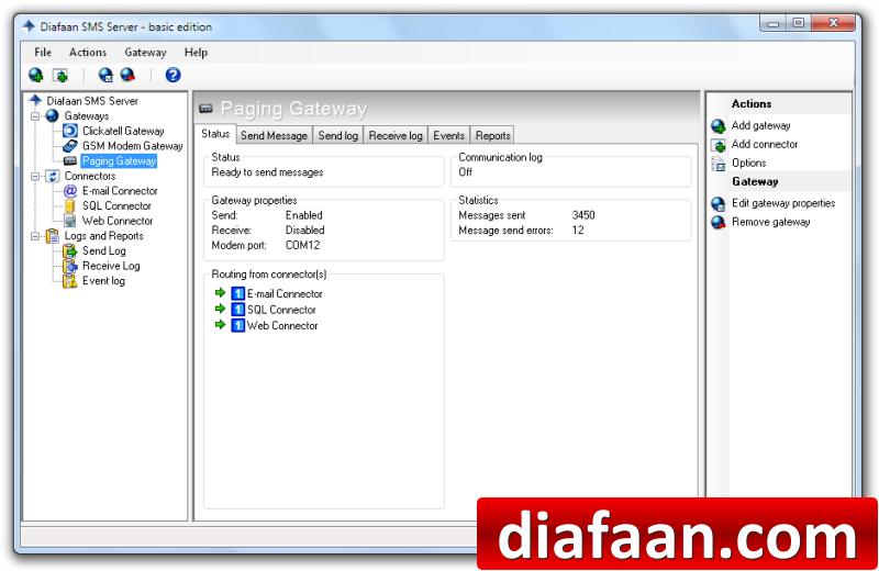 Click to view Diafaan SMS Server - basic edition 3.1.0.0 screenshot