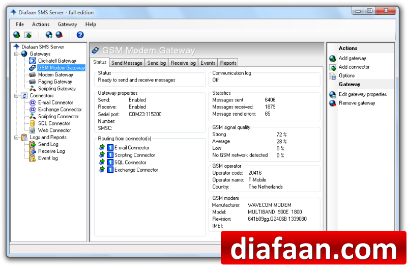 Click to view Diafaan SMS Server - full edition 3.1.0.0 screenshot