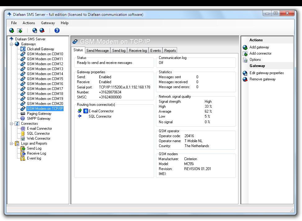 Screenshots   Diafaan SMS Server