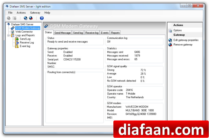 Diafaan SMS Server - light edition Screen shot